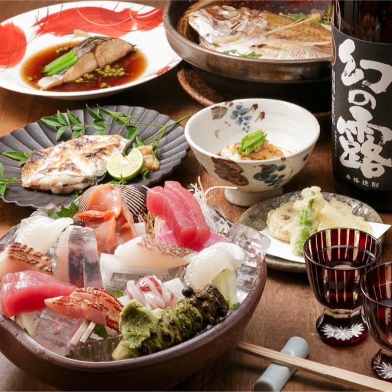 【特選コース】豪華造り8種盛り、季節の天ぷら盛など全9品