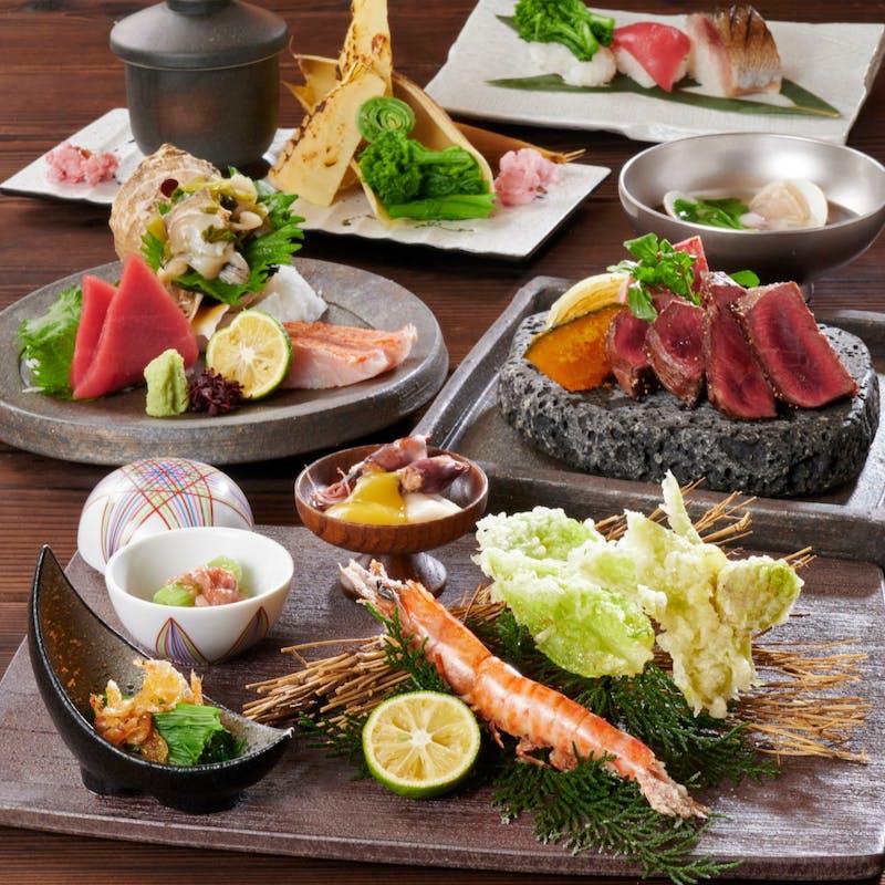 【桜香(おうか)コース】春味覚の筍、山菜、寿司と黒毛和牛を愉しむ+スパークリングワイン