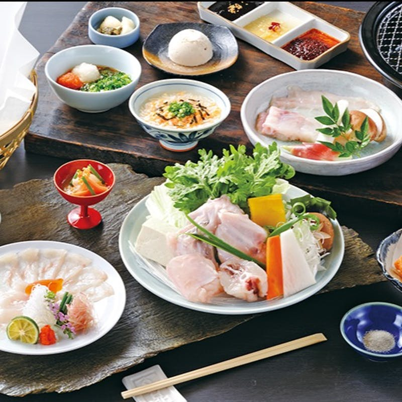 【焼・鍋コース】てっさ、唐揚げなど全8品(天然とらふぐ)