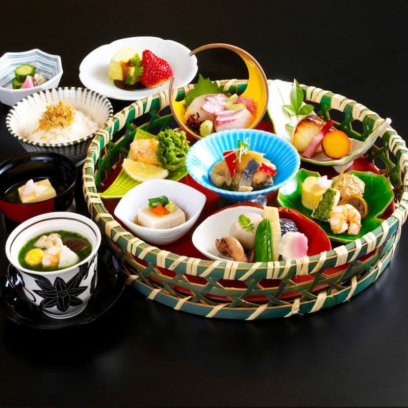 【彩り籠盛りコース】記念日に!刺身や焼物など籠盛りにデザートプレート付