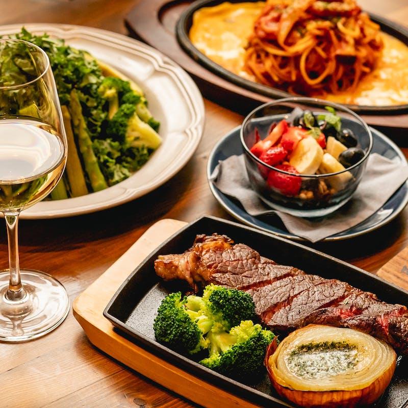 【PREMIUMコース】オーガニック食材やアンガスステーキ等全6品+選べる1ドリンク