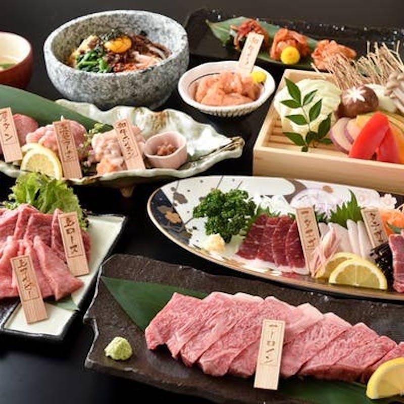 【究極のタレと究極のお肉のコース】特選ユッケ、上芯タン、カイノミなど全9品