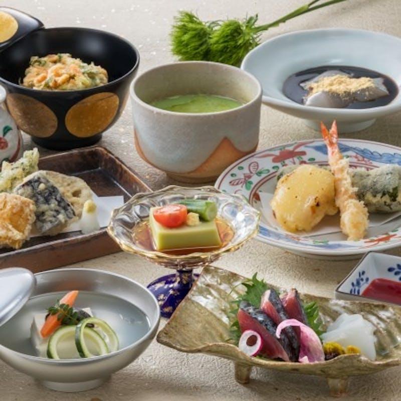 【天ぷら会席】先付、吸物、天麩羅など全5品+乾杯ドリンク(平日限定)