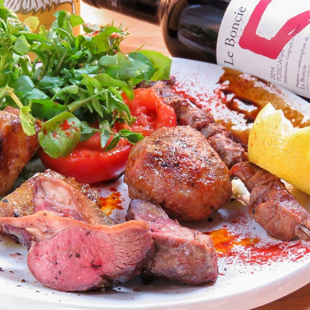 炭火焼の肉料理