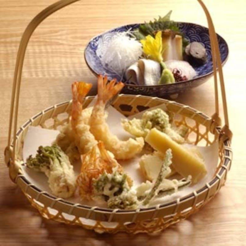 【藤コース】(刺身、天ぷら8品、食事、デザート)