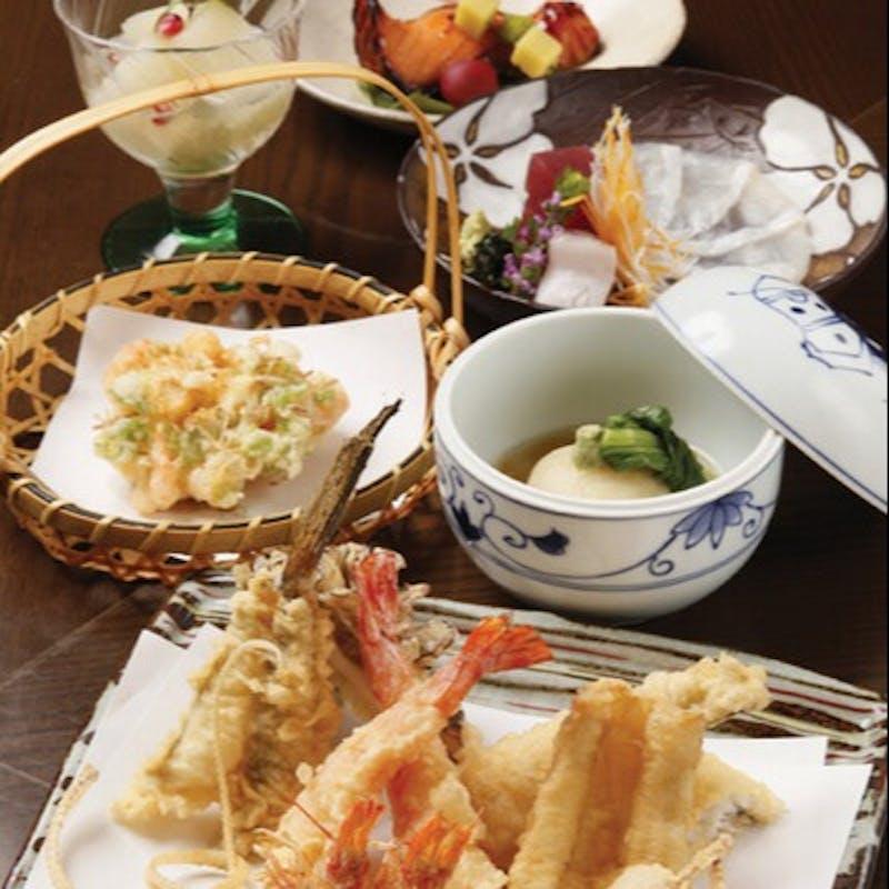 【椿コース】お刺身・天ぷら8品・本日の一品・お食事・デザート+グラススパークリング