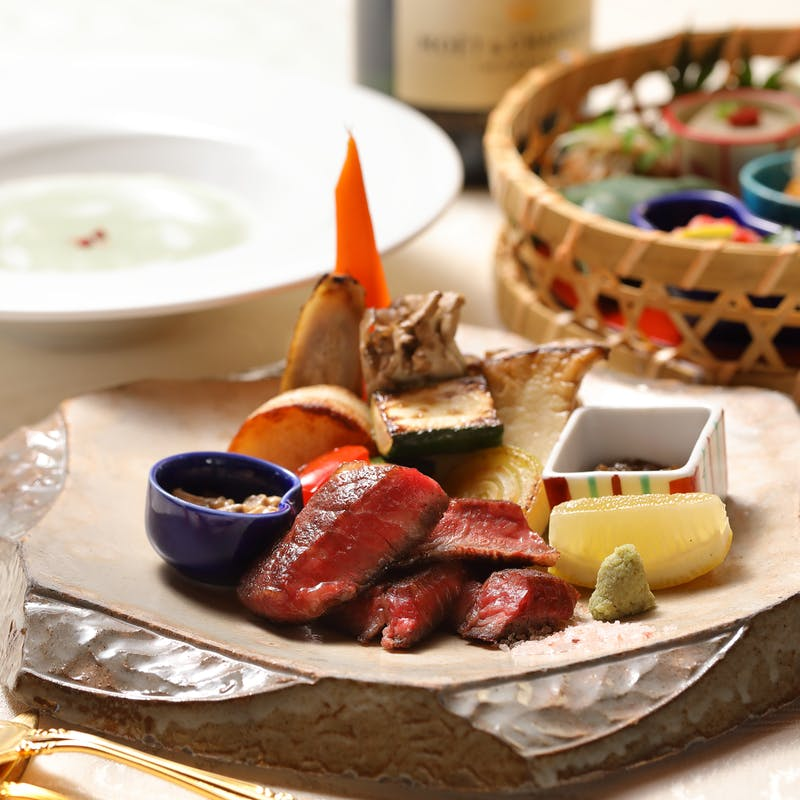 【比叡】近江牛(姫和牛)鉄板焼き、季節の天ぷら、造りなど全8品(個室確約)