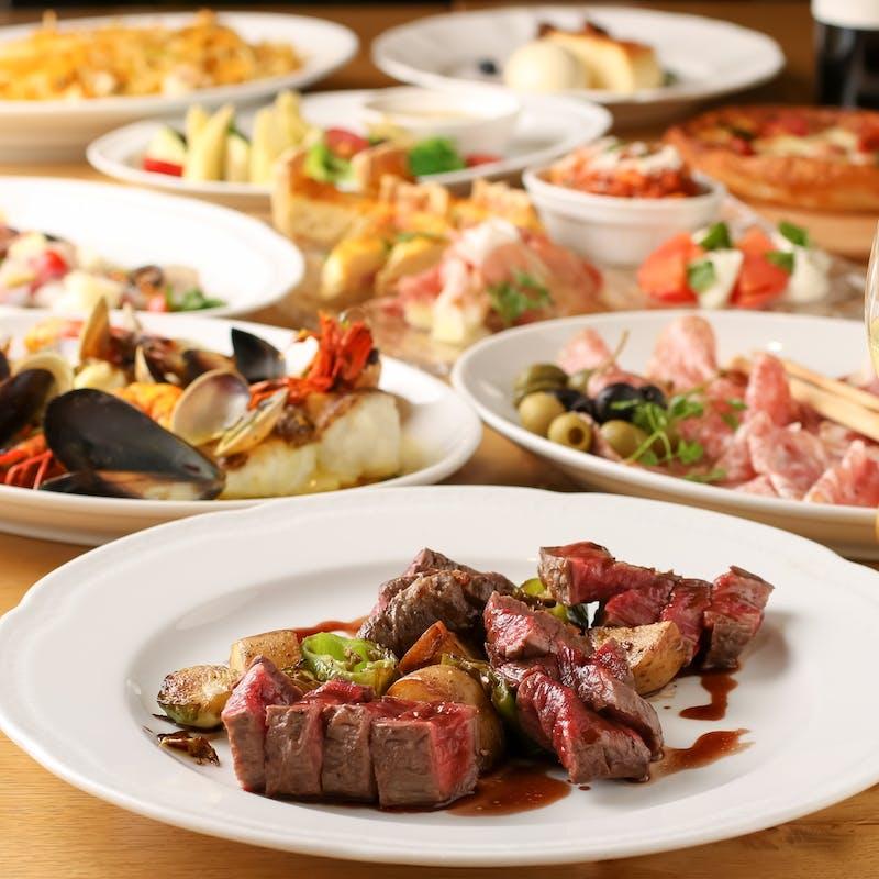 【贅沢イタリアンコース】黒毛和牛赤身のステーキ、季節の特選パスタ、鮮魚のカルパッチョなど全8品