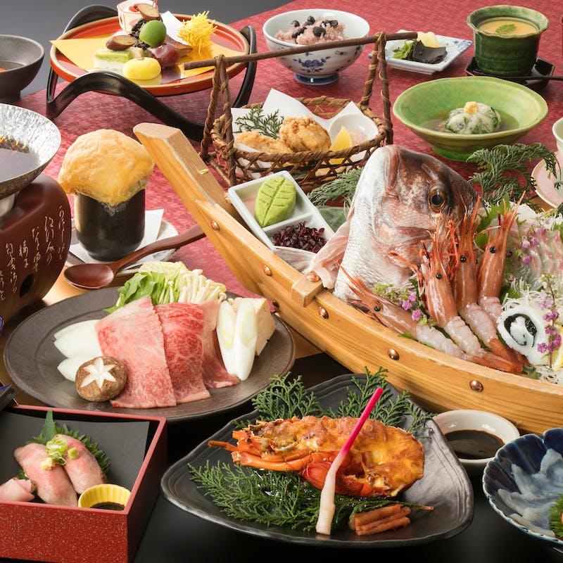 【うまいもん会席~てんこもり~】食前酒付 伊勢海老、神戸牛すき焼き鍋など全13品