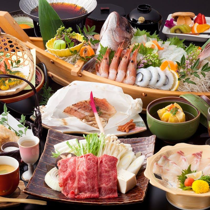 【美味会席】鯛うす造り、和牛すき焼き小鍋など全11品