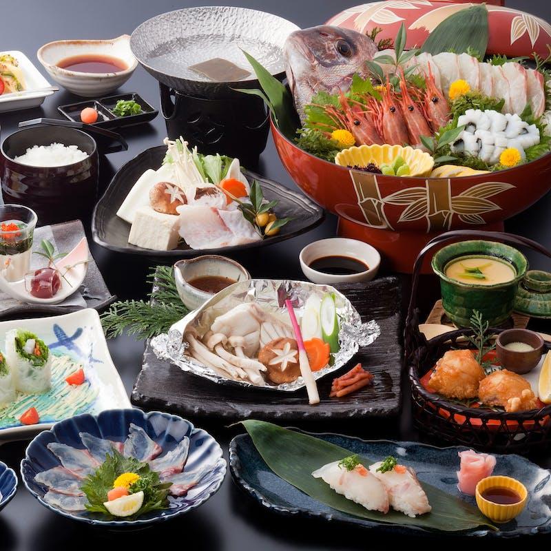 【クエ鍋会席】鮮魚の造り、くえ鍋、くえの生春巻き、手作りデザートなど全8品