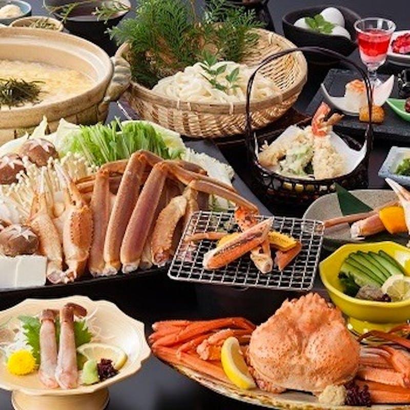【かに三昧フルコース】食前酒付 かに味噌、焼きかに、かにすき鍋、かにの造りや天麩羅など全11品