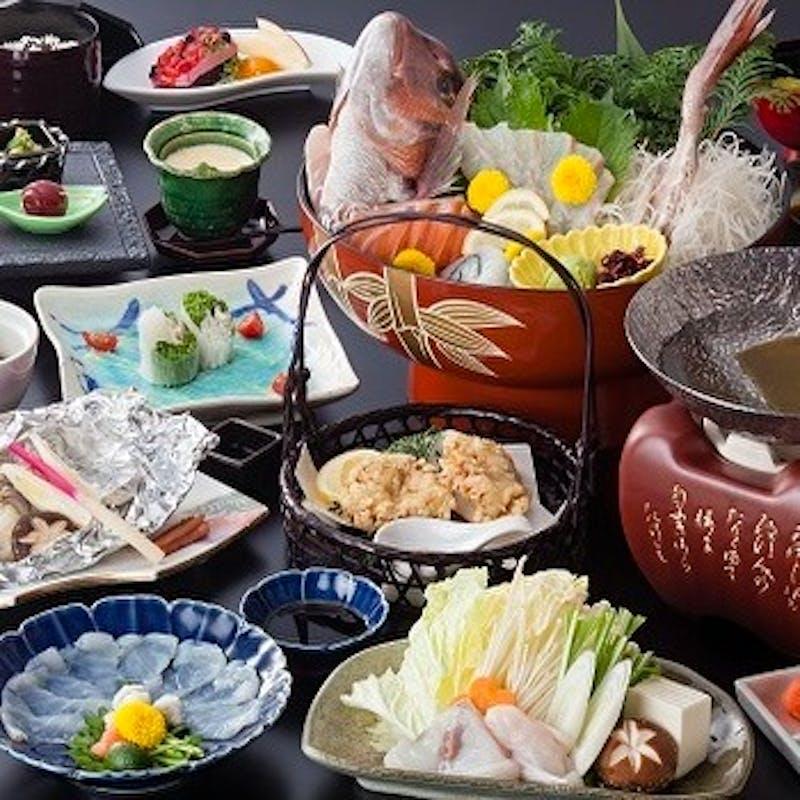 【ふぐ会席】食前酒付 ふぐの造りや治部煮、生春巻き、唐揚げ、小鍋など全11品