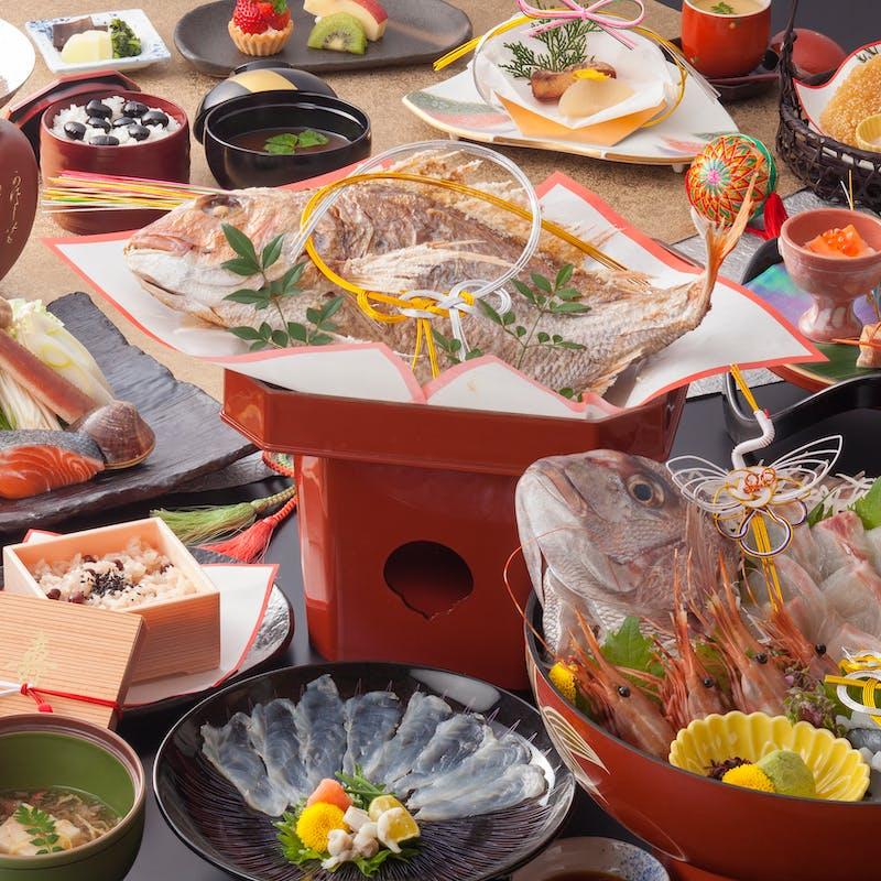 【お祝い膳~松~】鯛の姿鉢盛、煮物、焼物、季節の小鍋、赤飯など全12品(お顔合わせ・結納に)
