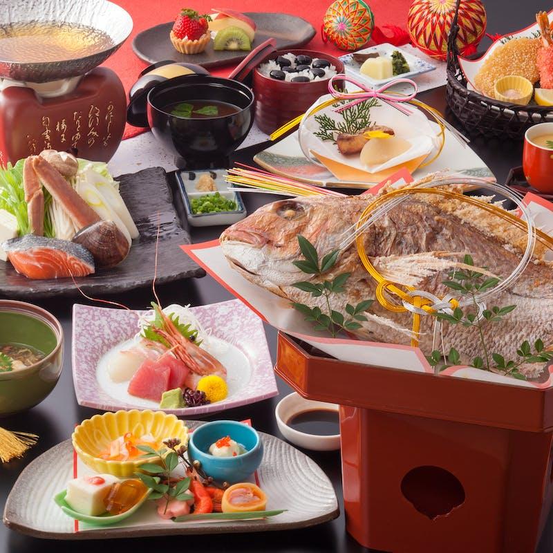 【お祝い膳~竹~】お造り、鯛姿祝い焼き、季節の小鍋など全10品(お顔合わせ・結納に)
