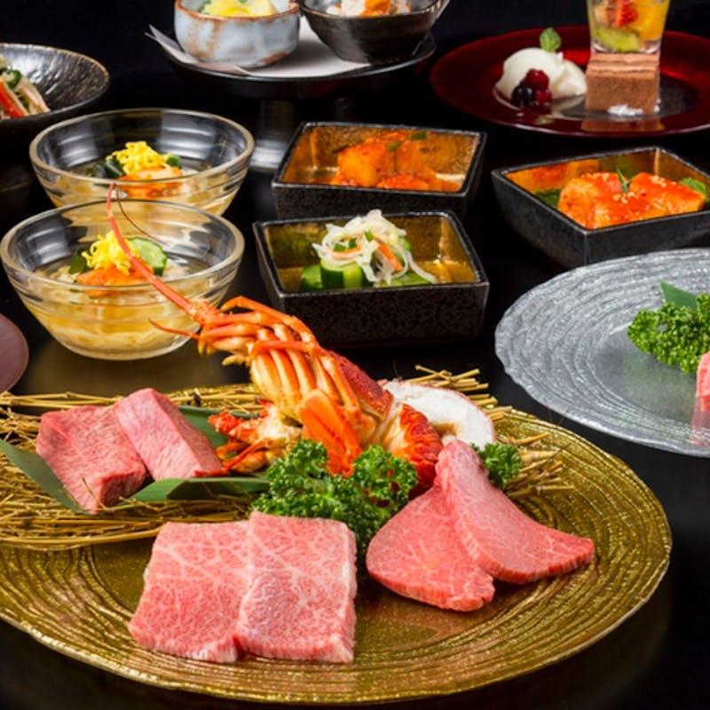 【スタンダードコース】オードブル3種、厚切りタン塩・大海老含む焼物7種、デザートなど