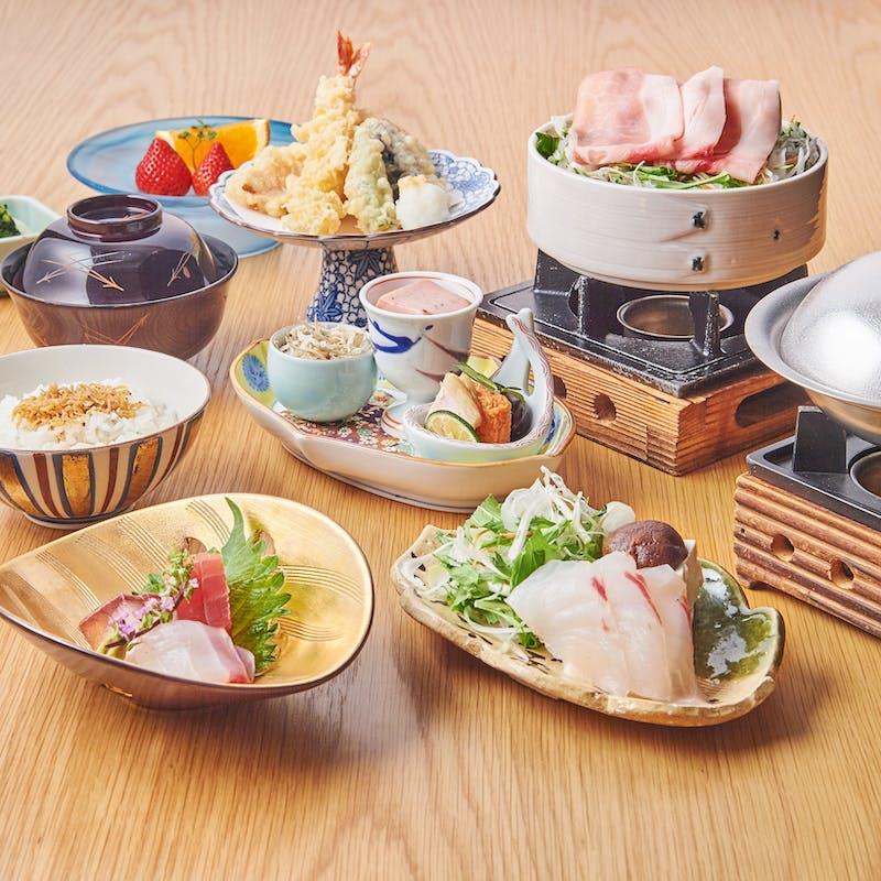 【瀬戸御膳】小鉢、お造り、選べる小鍋、天婦羅など全8品