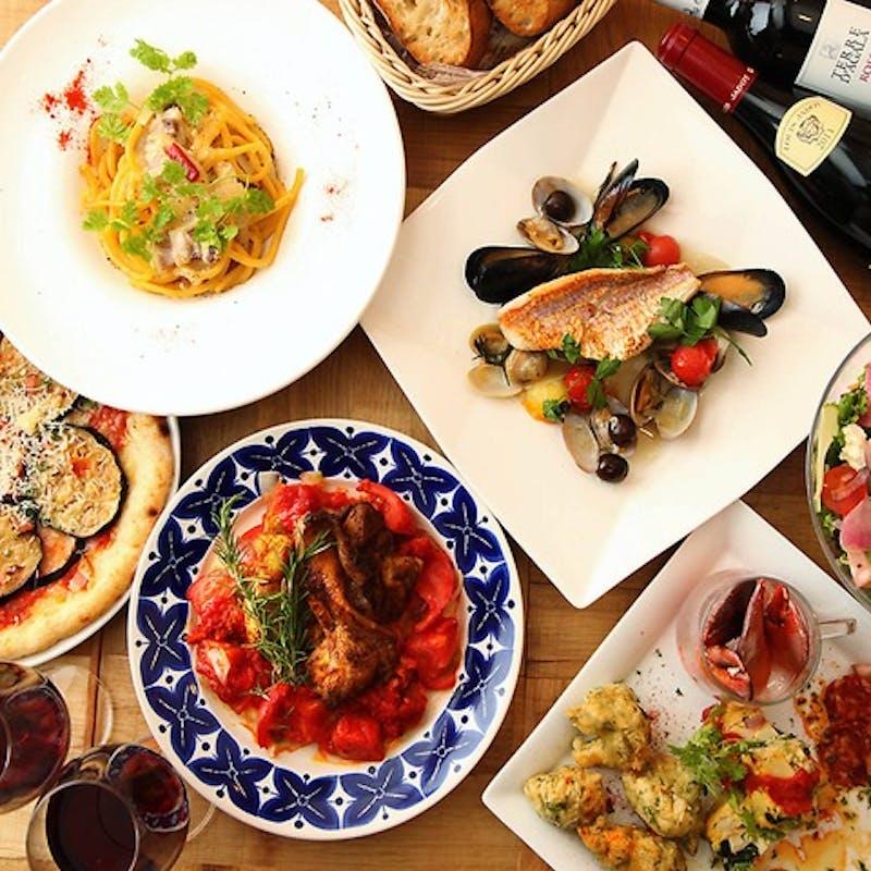 【3h飲み放題ピッコロプラン】魚介のパエリアや前菜盛り合わせ、鶏のコンフィなど全6品