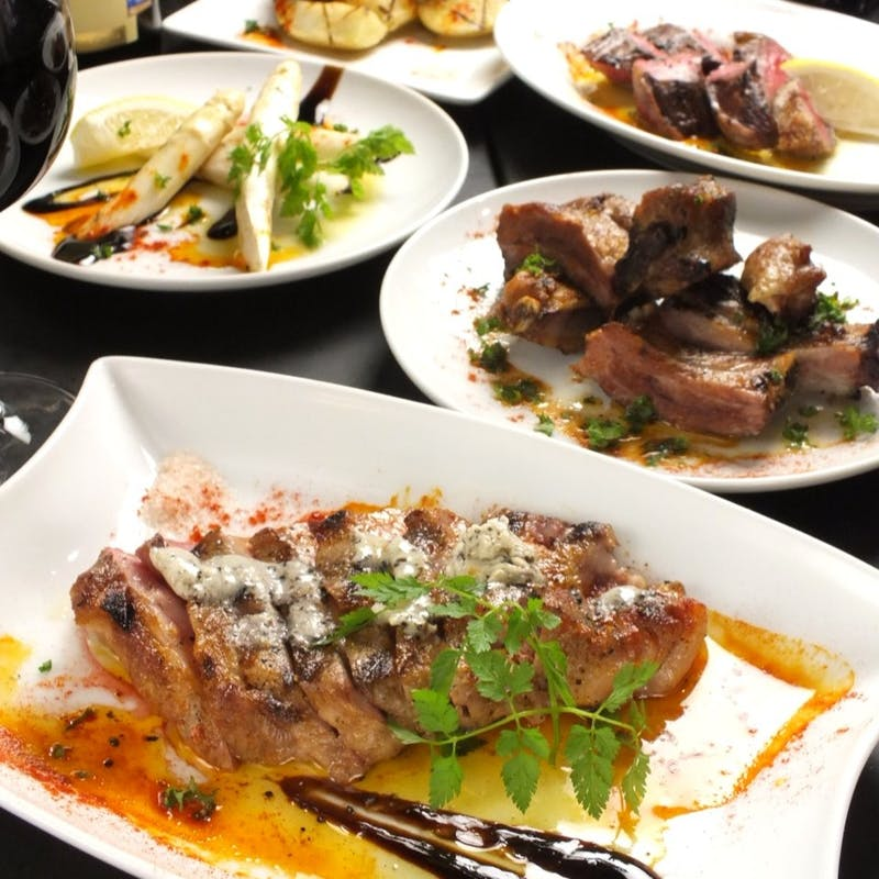 【プレミアムプラン】牛サガリ肉ステーキや本日のカルパッチョ、パエリアなど豪華全9品+2時間飲み放題