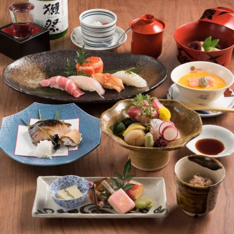 【風コース】上お造り、寿司(8貫)など全6品