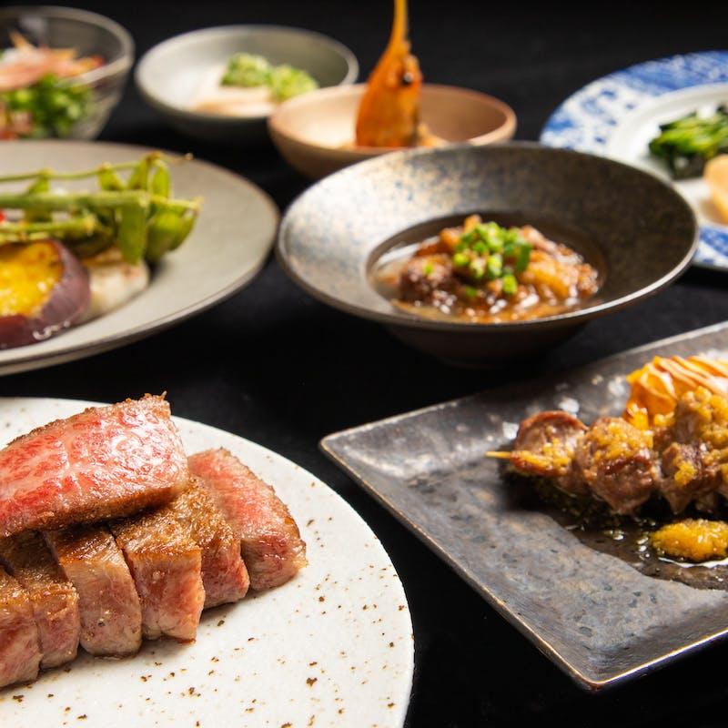 【特選鉄板焼き選べるお肉コース】海鮮逸品料理・串焼二種など 全9品+2.5時間飲み放題