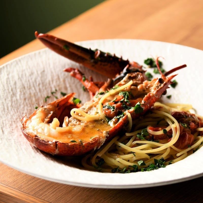 【スペシャルランチコース】ロブスターの生パスタ、魚料理と牛フィレ肉のダブルメインなど全6品