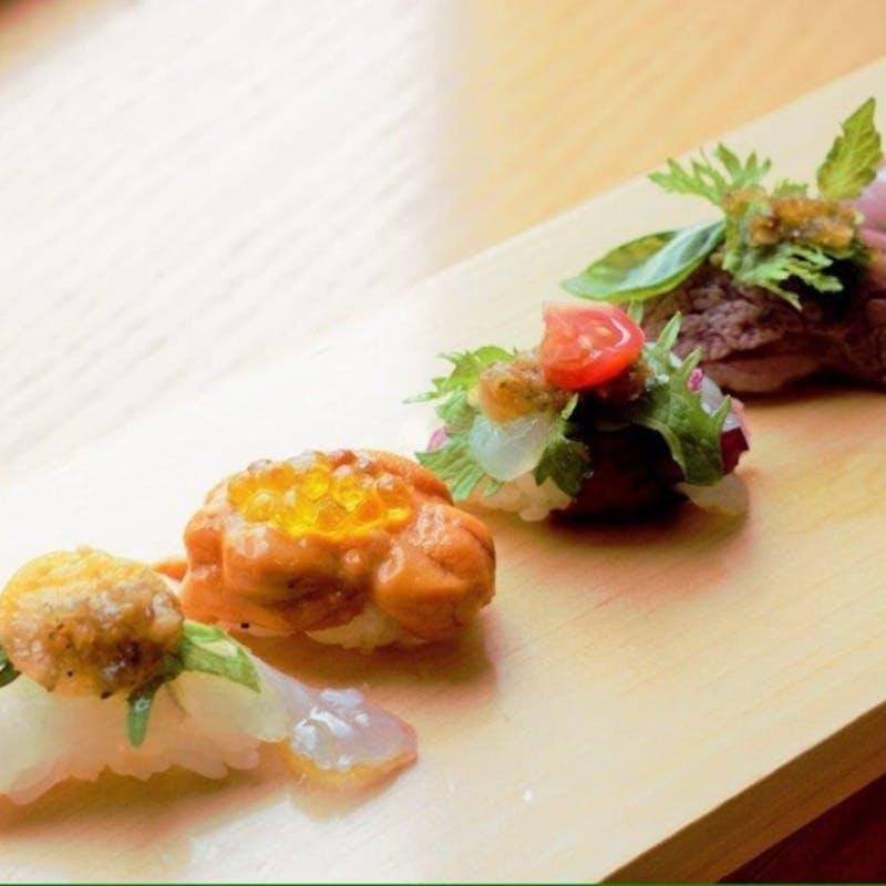 【寿し懐石】先付、前菜盛合せ、焼物、揚物、寿しなど(個室確約・リクエスト予約)