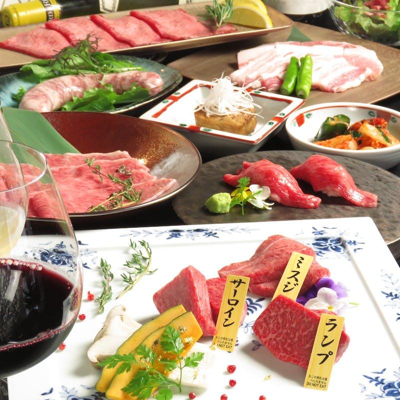 【極コース】上ネギ塩タン、松阪牛、炙り寿司、ミニカレーなど+デザートプレート