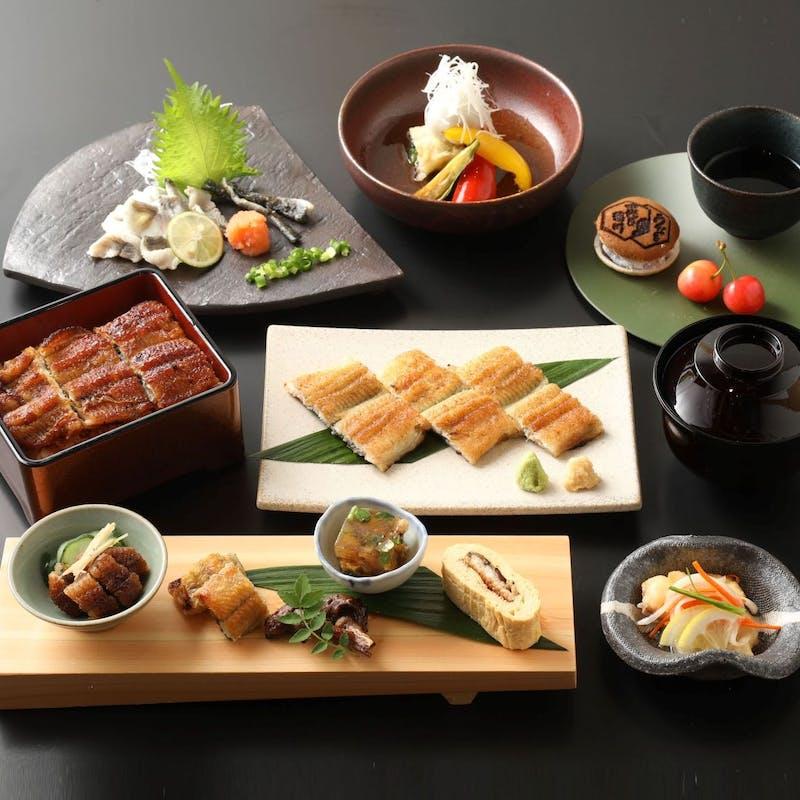 【会席大菊~おおぎく~】白焼き、うなぎの揚げ出し、ひつまぶしorうな重など全8品
