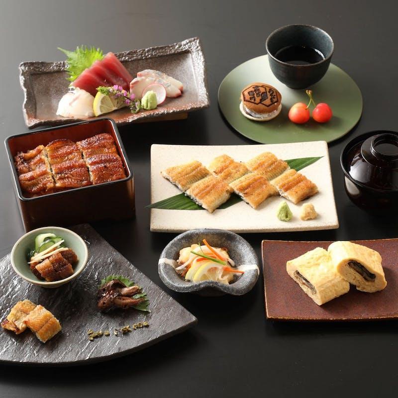 【会席野菊~のぎく~】う巻き、白焼き、ひつまぶしorうな重など全7品